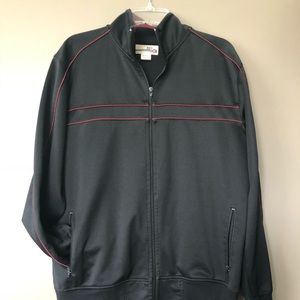 Black Buckle Track Jacket with Red Piping